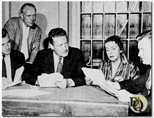 "Peter Iving puts a stellar cast through the paces of ""True Detective Mysteries""  (1957): Left to right - announcer Dan McCullough, top radio cop Bill Zuckert (standing), T.D.M. narrator Robert Haag, actress Ethel Everett, actor William Redfield."