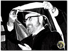 Fred receiving the hood of his honorary doctorate at Caroll College in Waukesha, Wisconsin.